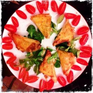 Filet mignon et poivrons en feuilles de brick.